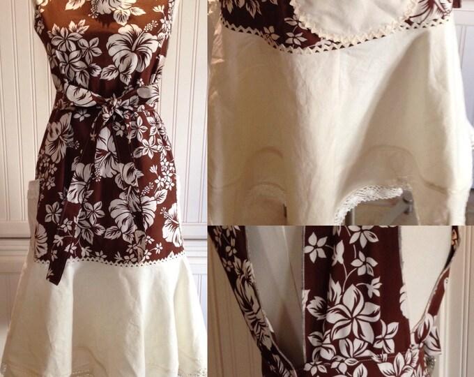 Women's full apron long pinny brown cream hibiscus print vintage crochet linen repurpose cream crochet vintage lace cream ruffle apron dress