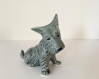 Vintage Gray Scotty Dog Figurine, Scottish Terrier Figurine