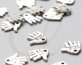 40pcs Oxidized Silver Tone Base Metal Charms-Hand 12x11mm (73Y-E-338)