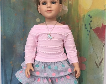 My Twin Doll Custom Polka Dot Unicorn Outfit