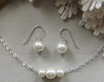 bridesmaid pearl necklace earring, bridesmaid necklaces, bridesmaids gift wedding jewelry white ivory pearl custom color W006S