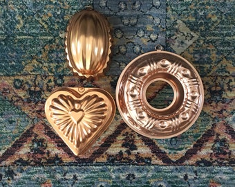 Copper molds- set of 3