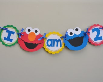 Sesame Street High Chair Banner I am 1, I am 2 Banner