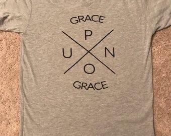 Grace Upon Grace V Neck T Shirt - John 1:16 - Christian Shirts