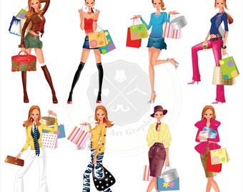 Shopping Girls_2  Clipart,fashion women clipart,fashion girls clipart,shopping girls,digital download
