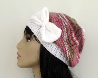 Hand Knit Slouchy Beret in Pink and Green