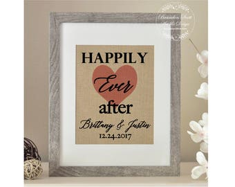Happily Ever After Burlap Print, Wedding Gift, Personalized Wedding Gift for Couples, Bridal Shower Gifts, Wedding Gifts, Gift for Her