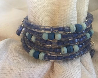 Blue and Aqua Bead Wraparound Memory Wire Bracelet