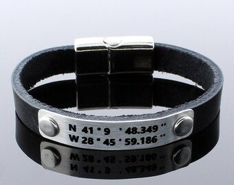 Personalize Leather Bracelet, Coordinate Bracelet, Personalize Gift, Personalize Men Gift, Custom Coordinates, Latitude Longitude, Mens Gift