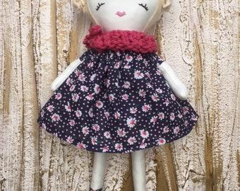 Handmade Girls Fabric Doll, Heirloom doll, Rag doll.