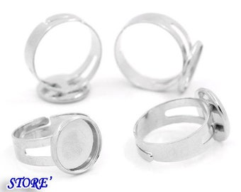 Set of 2 Adjustable Ring Stands Silver Round Tray