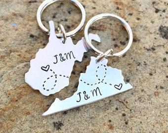 Long Distance Relationship State Keychains Custom, Choose your City, State, Best Friends, Girlfriend, Boyfriend, BFF Going Away Gift