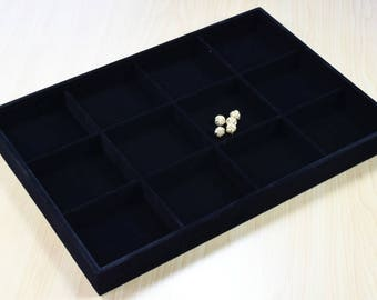 """Beads Organizer Tray Black Velvet Display Size 14""""x9.5""""x1.25"""", 12 Compartments for Beads or Chain or Coins Display, Item# 160001802833"""