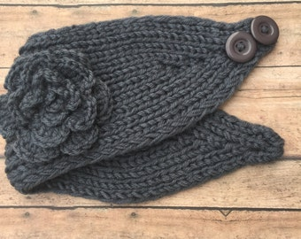 Ear Warmers - Winter headband - crochet ear warmer - knit headwrap - knit ear warmer - Winter - Dark Gray - Earwarmers - Winter accessory