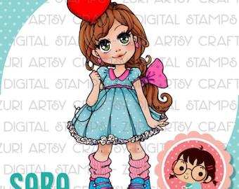 Sara Digital Stamp, Scrapbook Stamp, Love Stamp, Scrapbooking Digital Stamp, Instant Download, Zuri Artsy Craftsy