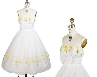 1950s Dress // Strapless Flocked Yellow Rose Full Bubble Skirt Party Dress