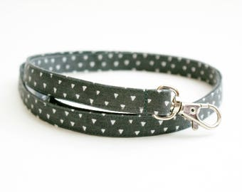 Dark Gray Skinny Lanyard with Triangles - Thin Lanyard with Swivel Clasp - 1/2 Inch - Mens Key Strap - Teacher Lanyard - 15.5 - 19.5 In.