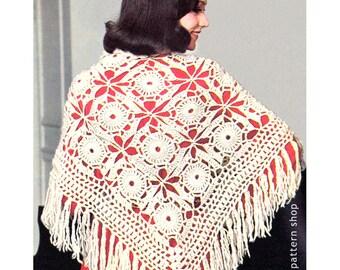Crochet Shawl Pattern Vintage Lacy Motif Shawl Crochet Pattern Womens PDF Instant Download C90