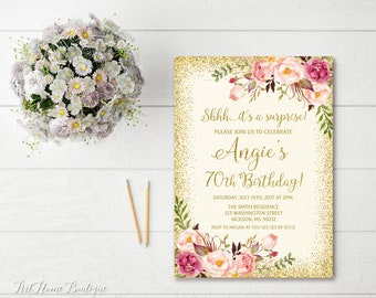 Surprise 70th Birthday Invitation, Any Age Women Birthday Invitation, Floral  Ivory Women Birthday Invitation, Boho Invite, #BW23-70