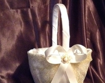 wedding flower girl basket ivory or white and gold color custom made