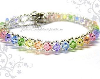 Rainbow bracelet; crystal bracelet; Swarovski bracelet; Glass bracelet;Swarovski Crystal Bracelet - Sweet rainbow single row bracelet