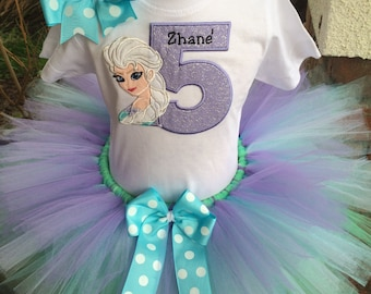 Queen Elsa Frozen Birthday Tutu Outfit Dress Set Handmade 1st 2nd 3rd