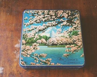 Vintage Cherry Blossom Candy Tin, Mrs Stevens Candies, Washington DC