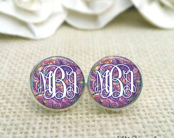 Lilly Pulitzer Inspired Monogram  Earrings, Purple Stud Earrings,Monogram Jewelry, Sea and Be Seen Print, Silver Monogram Earrings