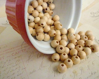 Round Wooden Beads - Natural - 10mm - Pack of 20