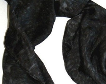 Black Charmeuse Silk Scarf Handmade Hand Painted Hand Colored High Quality One Size Fits All Jingjingdesign