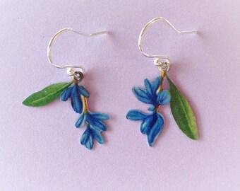 Tiny blue flower vintage tin earrings