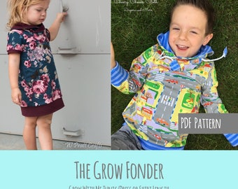 Apple Tree Grow Fonder Shirt or Tunic Grow with Me Top *PDF Sewing Pattern* Grow With Me Shirt Pattern, Long or Short Sleeves, Cowl