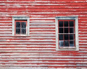 Window Photography, Rustic Barn, Red Barn, Weathered Barn, Barn Windows, Rural Decay, Abandoned Barn, Cottage Decor, Farmhouse Art, Window