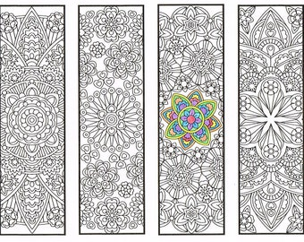 Coloring Bookmarks - Advanced Flower Mandalas Page 2 - coloring for adults, big kids and your resident bookworm - rainy day activity
