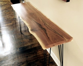 Walnut Console Table, Black Walnut Console Table, Modern Table, Live Edge Table