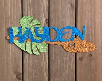 PERSONALIZED Moana Inspired Name with Moana's Oar and Tropical Leaf Glitter Die Cut/Party Decoration/ Embellishment/Cake Topper
