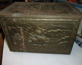 Large, embossed copper nautical box
