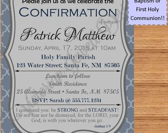 Confirmation Invitation, First Holy Communion Invitation, Baptism Invitation, Boy, Blue, Customizable, Digital Invite, Elegant