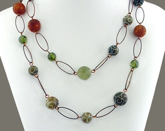 Carved Jade and Copper Necklace - Carved Jade Beads, Olive Green Cubic Zirconia Beads, Antique Copper
