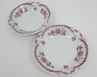 Shenango Chardon Berry Bowl Set of 2, Rim Rol Wel Roc Vintage Restaurant Ware China, Red Maroon Floral Rose, Red & White Transferware