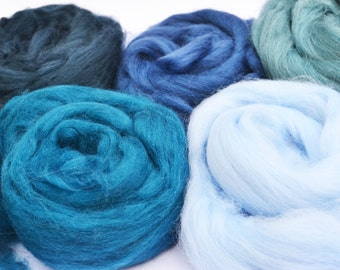 Merino wool tops, merino wool roving, felting wool, spinning wool, merino 64, wool for felting, blue merino wool, fiber, textile supplies