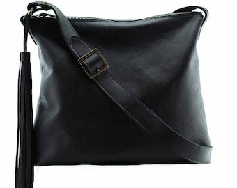 SALE Black purse bag, black leather bag purse Soho | black bag leather, black leather crossbody bag purse custom bags, gift for her