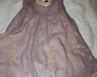 Dress Amuleti J T 36/38 chiffon embroidered empire shape short purple Nude style vintage lace