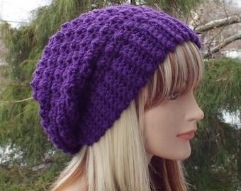 Purple Crochet Hat, Womens Slouchy Beanie, Oversized Slouch Beanie, Slouchy Hat, Chunky Hat, Winter Hat, Slouch Hat