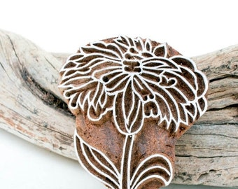 50% off Hand Carved Stamp  flower 189
