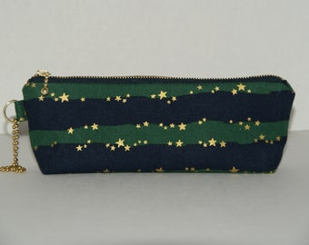 """Padded Zipper Pouch / Pencil Case with Gusset Made with Japanese Cotton Linen Fabric """"Wavy Border Gold Star"""""""