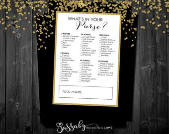 What's in your Purse? - Bridal Shower Game - INSTANT DOWNLOAD - Printable Gold Confetti Wedding Shower Party Game / Sassaby Weddings
