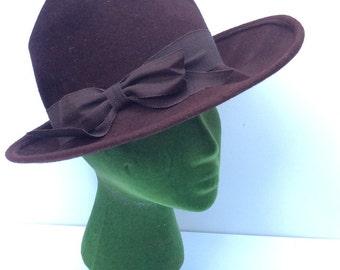 VTG Glenover Hat // Brown // Wide Brim // Union Made // Faun tra-Felt // Felt Hat
