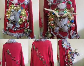 Funny Matched Set Ugly Christmas Sweaters, Couples Christmas Sweaters, 3d Light up Sweater, Huge Half n Half Reindeer Sweater, Size XL & L