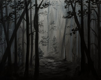 """Original Oil Painting """"Dark Forest Path"""".  One of  a kind."""